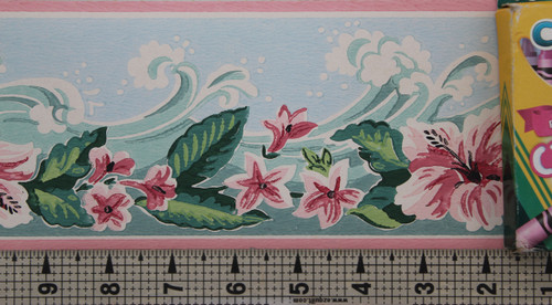 Imperial Vintage Wallpaper Border Waves Blue
