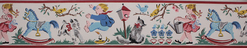 Imperial Vintage Wallpaper Border Jack Be Nimble Nursery Rhyme White
