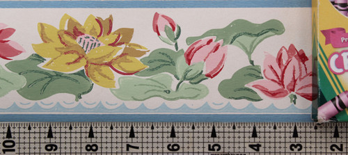 Imperial Vintage Wallpaper Border Water Lily on White