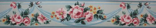 Imperial Vintage Wallpaper Border Roses on Blue