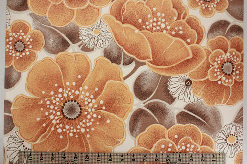 1970s Vintage Wallpaper Large Orange Flowers Vinyl