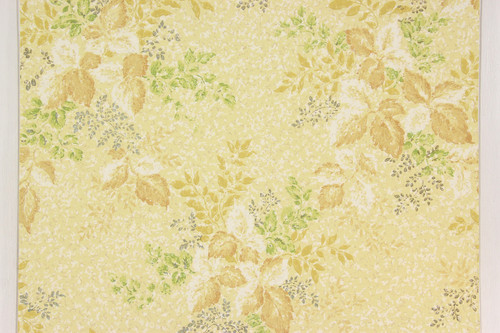 1960s Vintage Wallpaper Yellow and White Leaves