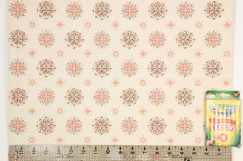 1950s Vintage Wallpaper Brown and Salmon Geometric