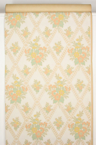 1930s Vintage Wallpaper Orange and Yellow Floral Bouquets
