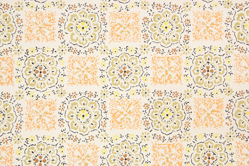 1970s Vintage Wallpaper Orange Geometric