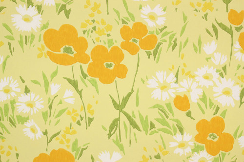 1960s Vintage Wallpaper Orange Poppy