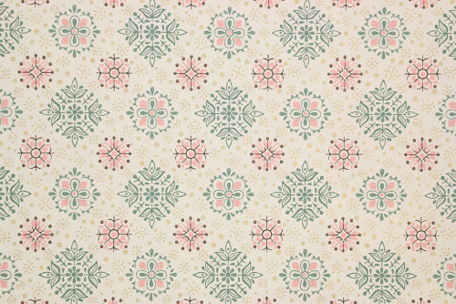 1940s Vintage Wallpaper Pink and Green Geometric