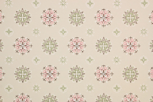 1950s Vintage Wallpaper Pink and Green Geometric
