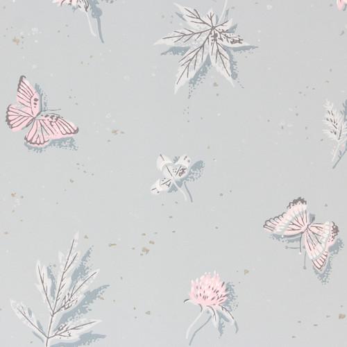 1950s Vintage Wallpaper Pink Butterflies on Blue