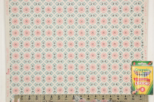 1940s Vintage Wallpaper Pink Floral and Green Geometric