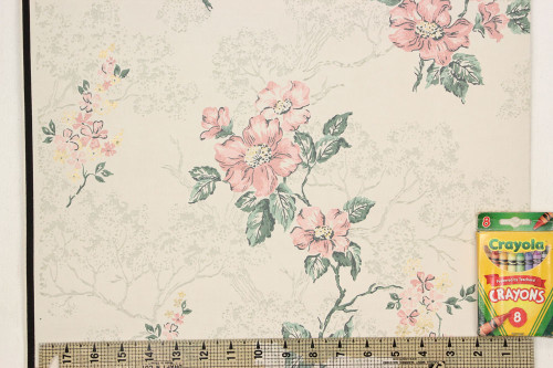 1940s Vintage Wallpaper Pink Flowers on White