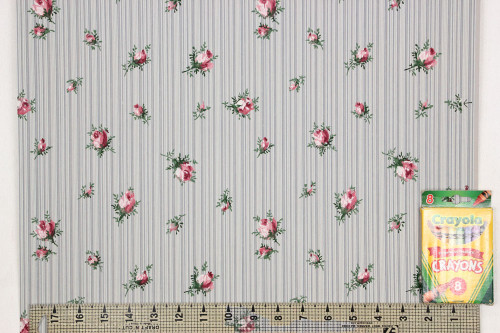 1940s Vintage Wallpaper Pink Rosebuds on Blue Stripe