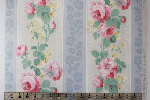 1950s Vintage Wallpaper Pink Roses and Yellow Flowers