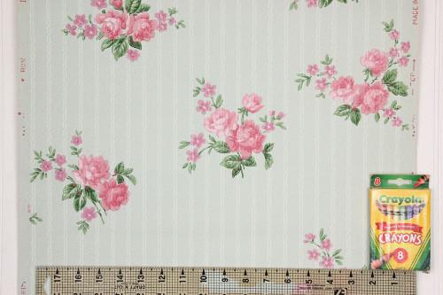 1940s Vintage Wallpaper Pink Roses on Blue