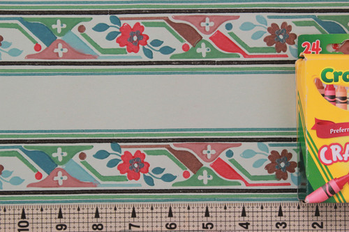 1930s Vintage Wallpaper Border Red and Brown Flowers