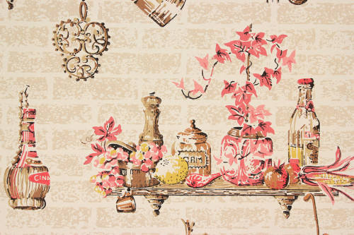 1950s Vintage Wallpaper Red and Brown Kitchen