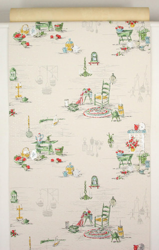 1950s Vintage Wallpaper Red and Green Kitchen