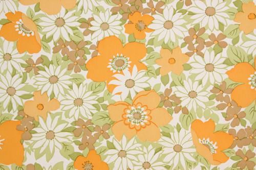 1970s Vintage Wallpaper Retro Orange Flowers