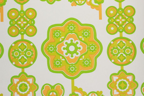 1970s Vintage Wallpaper Retro Green and Orange Design