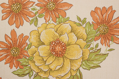 1970s Vintage Wallpaper Yellow and Orange Flowers