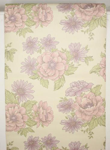1970s Vintage Wallpaper Retro Purple Flowers