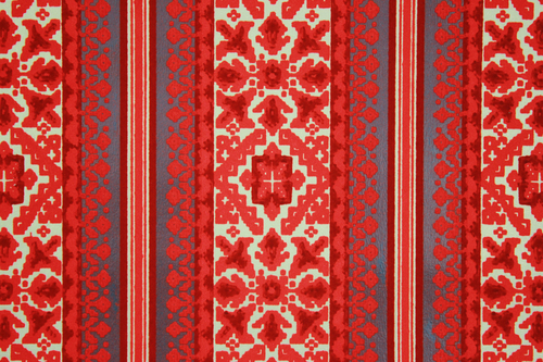 1970s Vintage Wallpaper Retro Red Black and Gold Flock