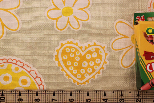 1970s Vintage Wallpaper Retro Yellow Hearts and Flowers
