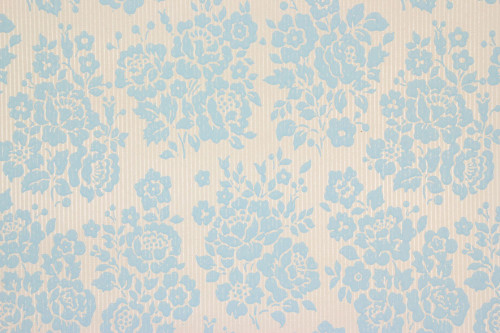 1960s Vintage Wallpaper Rose Bouquets Blue