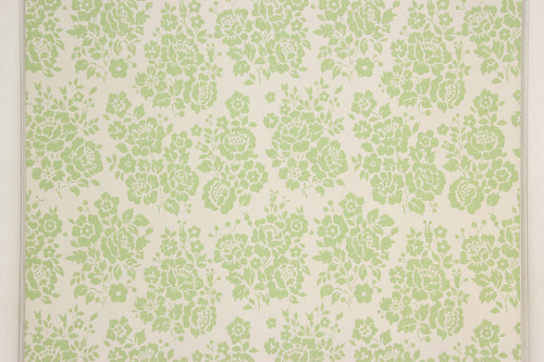 1960s Vintage Wallpaper Rose Bouquets Green