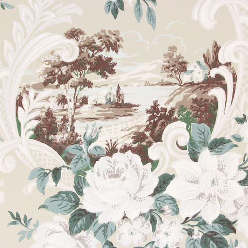 1940s Vintage Wallpaper Scenic Scrolls and White Roses Beige