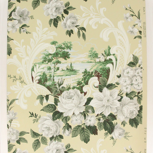 1940s Vintage Wallpaper Scenic Scrolls and White Roses Yellow