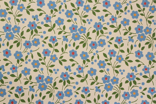 1970s Vintage Wallpaper Small Blue Flowers Vinyl
