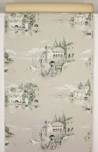 1940s Vintage Wallpaper Villas Sailboats