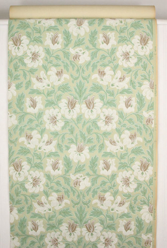 1930s Vintage Wallpaper White and Brown Flowers