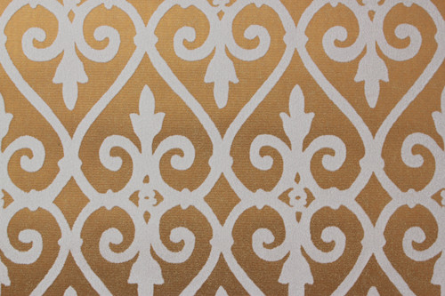 1970s Vintage Wallpaper White and Gold Flock Damask Design