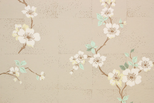 1940s Vintage Wallpaper White Dogwood on Beige