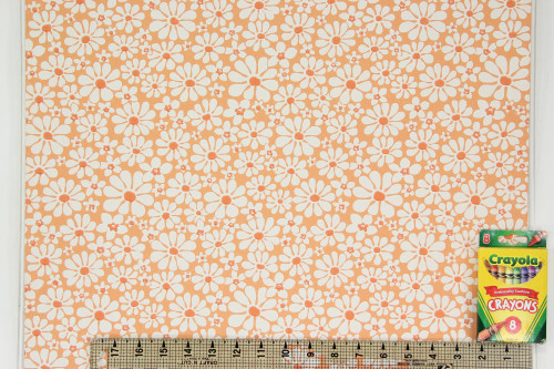 1970s Vintage Wallpaper White Daisies on Orange