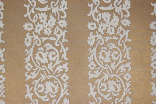 1970s Vintage Wallpaper White Floral Flock Stripe on Gold