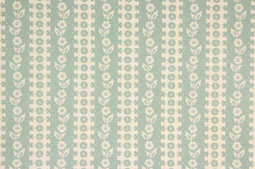 1970s Vintage Wallpaper White Floral on Aqua