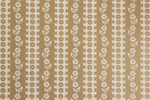 1970s Vintage Wallpaper White Floral on Gold Metallic