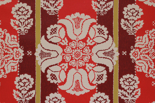 1970s Vintage Wallpaper White Flowers on Red and Gold