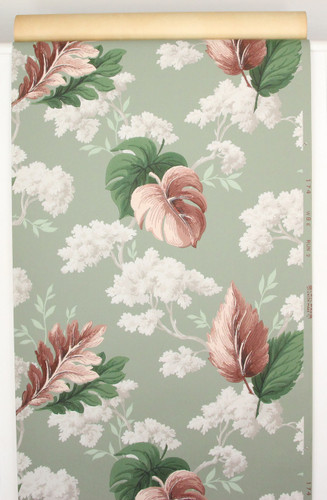 1940s Vintage Wallpaper White Flowers Red and Green Leaves
