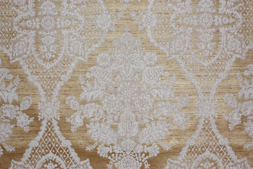 1970s Vintage Wallpaper White Large Flock Damask