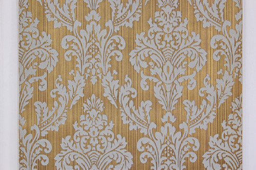 1970s Vintage Wallpaper White Large Flock Damask on Gold