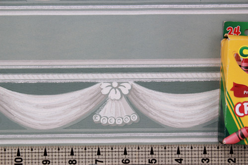 1940s Vintage Wallpaper Border Swags on Teal