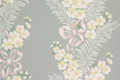 1940s Vintage Wallpaper Yellow Flowers Pink Ribbon
