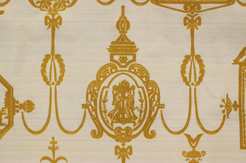 1970s Vintage Wallpaper Golden Yellow Flock Victorian Design