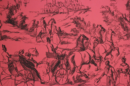 1970s Vintage Wallpaper French Toile on Red