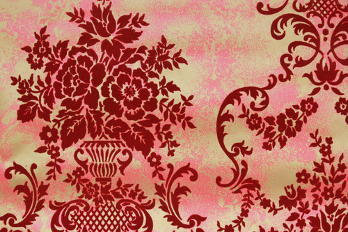 1970s Vintage Wallpaper Red Flock Contact Peel n Stick