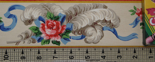 Duro Vintage Wallpaper Border Rose and Ribbon